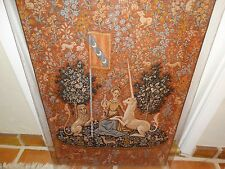 """antique Flemish tapestry Jacquard """"Lady with Unicorn"""" small 36.25"""" x 25.5"""" frame"""