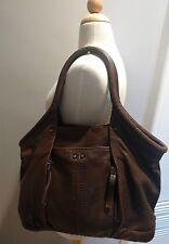 PERLINA NEW YORK large soft brown leather hobo shopper shoulder bag purse
