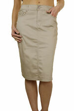 NEW (2516) Laides Plus Size Stretch Chino Sheen Jeans Style Skirt 12-24