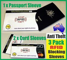 2 CREDIT CARD & 1 Passport RFID Blocking Shield Cover Travel Anti Theft Sleeve