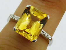 R226 Genuine 9ct White GOLD NATURAL Citrine & Diamond Solitaire Ring size M