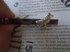 T054 Antique Silver Crow Raven Tie Bar Clip Pin Tacks Gothic Medieval Novelty