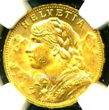 SWITZERLAND 1925 B GOLD COIN 20 FRANCS * NGC CERTIFIED GENUINE MS 62 * SPLENDID