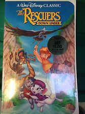 RARE Disney The Rescuers Down Under Black Diamond (VHS, 1991) In Clamshell