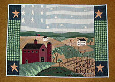 America The Beautiful ~ Red Barn Tapestry Placemat ~ Artist, Warren Kimble