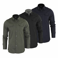 Mens Shirt Brave Soul Charlie Long Sleeve Collared Cotton Casual Top