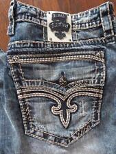 NWT ROCK REVIVAL Bertone Straight Leg White-Stitched Jeans....Size 36x32