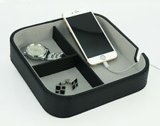 BLACK CARBON CATCHALL COIN VALET TRAY KEYS PHONE JEWELRY WALLET MENS GIFT