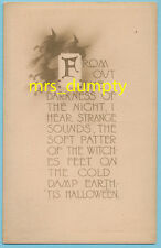 HALLOWEEN Gibson ~ Witches Fly ~ Poem Saying ~ Sepia HTF POSTCARD