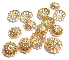 Bead Cap Brass 8mm for 8 to 10mm bead Filigree Flower Cutouts ALL COLORS 100 Qty