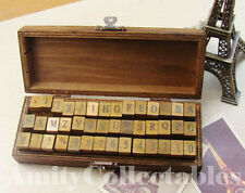 NEW! 42 PIECE RUBBER LETTER STAMP ALPHABET WOODEN BOX SET Print, Gift, Number