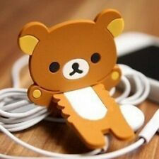 FD4908 Brown Rilakkuma Relax Bear Earphone Cable Bobbin Winder Holder 1pc ♫