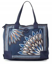 NWT Authentic TORY BURCH Ella Nylon Printed Packable Tote Navy Eden w/ Gift Bag