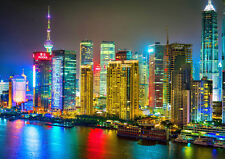 COLORFUL SHANGHAI NEW A2 CANVAS GICLEE ART PRINT POSTER