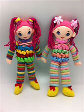 Cloth Doll x 2  with 100 Assorted Hair Elastics - Gift for any Girl -  child toy