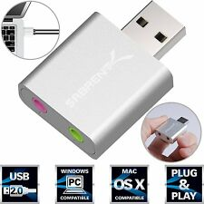 Sabrent Aluminum USB External Stereo Sound Adapter for Mac CM108-Chipset AU-EMAC