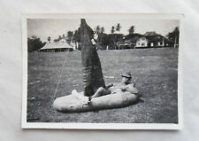 Vintage 40s/1948 B/W Photograph. British Soldier In a Hat Under Parasol, Penang