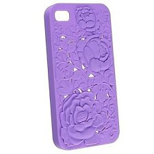 iPhone 4S Purple 3D Sculpture Design Rose Flower Case