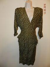 Vintage 1990's Jonathan Martin 3/4 sleeve Floral Print Dress Size 11/12 olive gr
