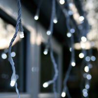 LED ICICLE LIGHTS WHITE BLUE CHRISTMAS XMAS OUTDOOR LIGHTING SNOWING SNOWFLAKES