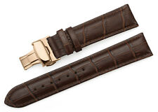 Leather Strap Alligator Grain Watch Band Butterfly Rose Gold Deployant Clasp Men