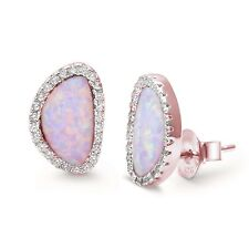 Rosegold Plated Lab Created Pink Opal & CZ .925 Sterling Silver Earrings