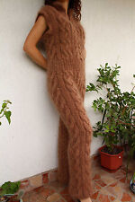 New Hand Knit Mohair Pants,Sexy Union Suit,Brown,Thick and Fuzzy,Handmade