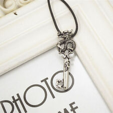 Men Stainless Steel Silver Black Crafted Curly Dragon Key Pendant Necklace Gifts