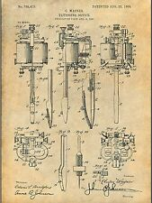 "1904 Wagner Tattoo Machine Patent Print Unframed Poster 8.5"" X 11"""