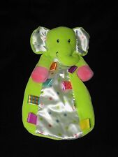 Taggies Elephant Security Blanket Baby Lovey Green Polka Dots