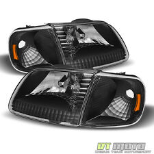 Black For 1997-2003 Ford F150 Expedition Headlights+Signal Corner Lamps 4PC Set