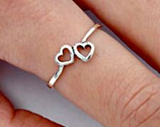 .925 Sterling Silver Ring size 9 Heart Midi Knuckle Thumb Ladies Hearts New p93