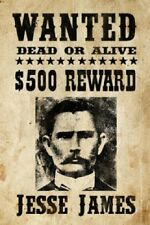 "Jesse James Mobster Outlaws Wanted Poster  8.5""x11"" Wall Photo Mancave Decor #1"