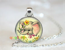 Baby Elephant photo glass dome Tibet silver Chain Pendant Necklace wholesale