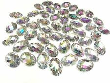 Sew on Acrylic Oval Diamante Crystal Gems Rhinestone Bling AB 50 x 13 18mm