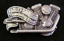 RARE VINTAGE HARLEY DAVIDSON THUNDERING STEEL BELT BUCKLE BARON 1991 H412 TWIN