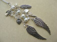 Double Wing Guardian Angel Car Grab Handle or Rear View Mirror charm feather