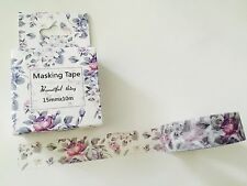 WASHI TAPE: PURPLE CABBAGE ROSES BOXED WASHI TAPE- BRAND NEW