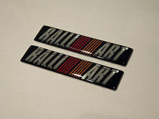 2 X BLACK RALLIART DOOR WING SIDE BADGES OUTLANDER EVO COLT LANCER L200 SHOGUN