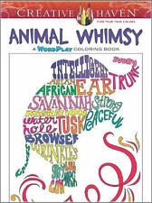 A WORD PLAY ADULT COLORING BOOK ~ ANIMAL WHIMSY ~ PERFORATED PAGES 4 FRAMING
