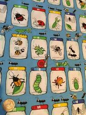 Blank Quilting Garden Critters Bugs in Jars Spiders Cotton Fabric FQ 50cm x 54cm
