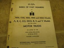 IH 21 XPC 1964 Index of Part Numbers 1600 1700 1800 1900 2000 A B C CO DCO R S V