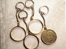 4 Silver Plated Key Chains with Brass Eisenhower Dollar Coin Holders Bezels
