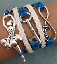 NEW Infinity Love Ballet girl Friendship Antique Silver Leather Charm Bracelet