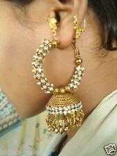 INDIAN BOLLYWOOD TRADITIONAL ETHNIC JHUMKA JHUMKI DANGLE GOLD TONE EARRINGS
