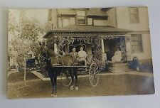 RPPC Real Photo Postcard Victorian Horse Buggy House Lady Dog Posted Stamp 1903