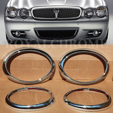 Set 4X ROYAL PREMIUM CHROME HEAD LIGHT LAMP SURROUNDS for JAGUAR X TYPE 01-09
