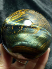 453 g Natural Blue&yellow Tiger's Eye Crystal Sphere Ball B 781