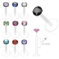 10 lot FLEXIBLE Push-In Prong CZ LABRET /MONROES LIPS CHIN Ring Piercing Jewelry