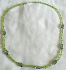 "25"" necklace, Peridot + Rock Crystal nuggets"